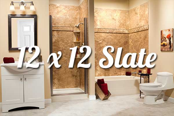 White_Curved_19 Inch_Soaker_Bathtub_and_White_Shower_Base_with_River_Rock_12x12_Walls_u0026_Brushed_Nickel.  12x12 Acrylic Slate Tile Walls