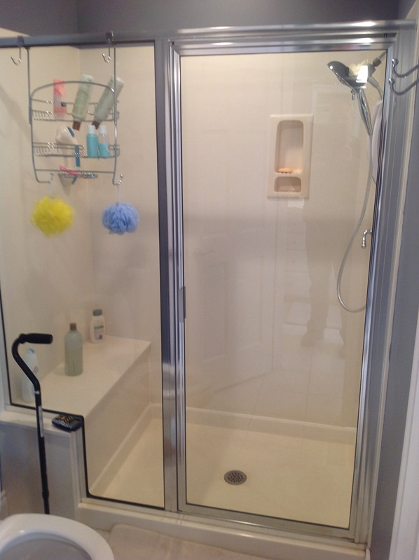 Walk in shower with seat liberty home solutions llc for Bathroom remodel springfield mo